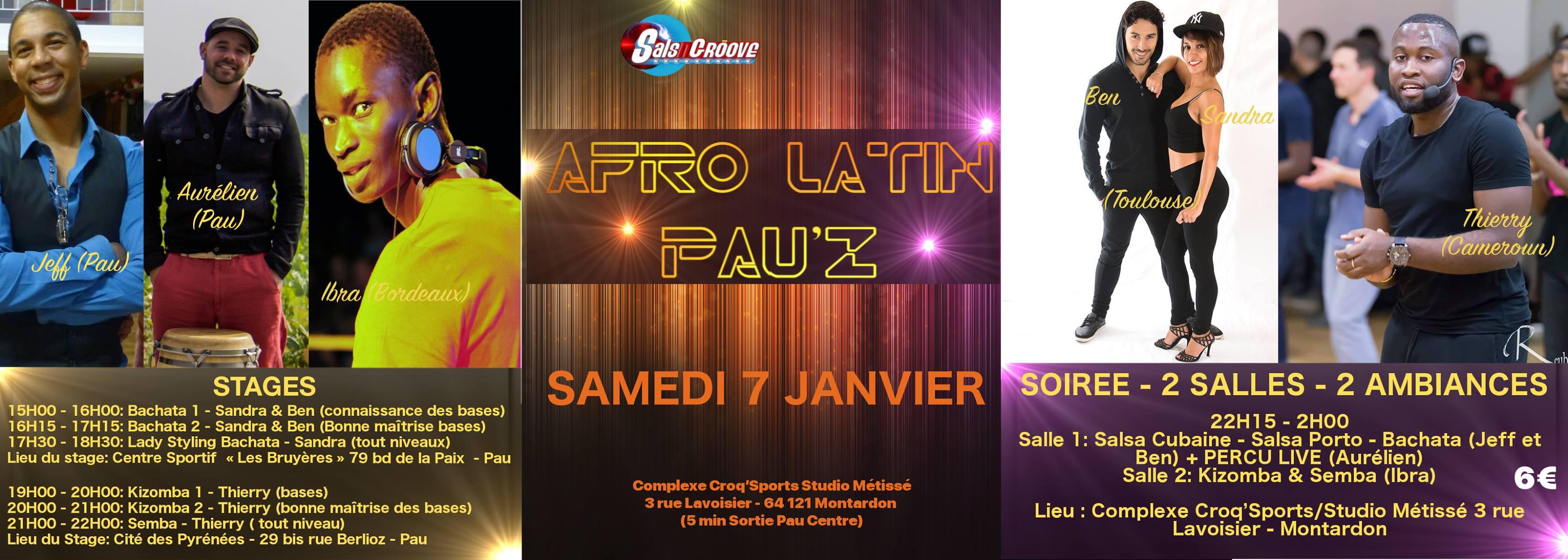 Afro Latin Pau'Z et stages le samedi 7 janvier