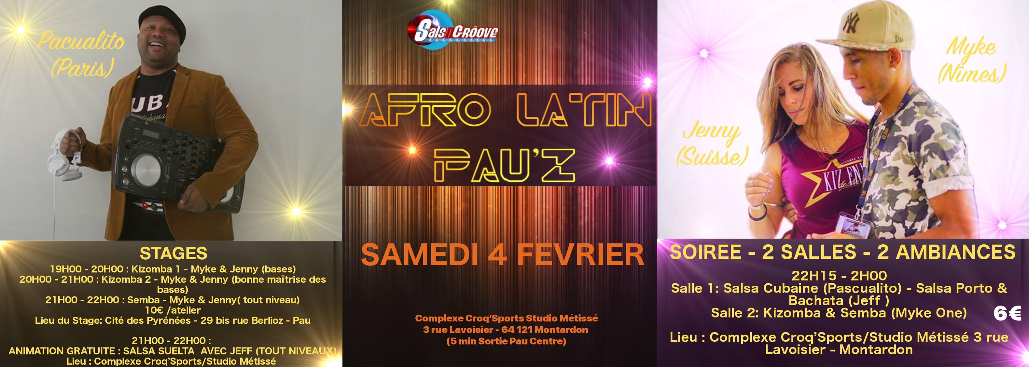 Afro Latin Pau'Z et stages le samedi 4 février – Changement de lieu pour les stages